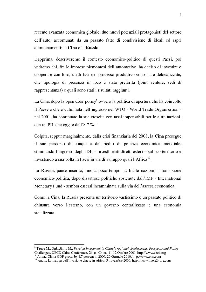 Anteprima della tesi: Ricerche e studi sull'evoluzione generale del settore automobilistico in un insieme globale, Pagina 4