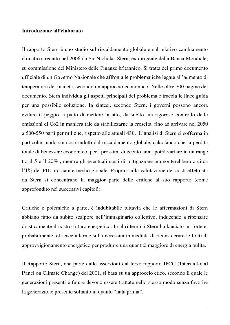 Anteprima della tesi: Gli effetti economici dei cambiamenti climatici: il rapporto Stern, Pagina 1
