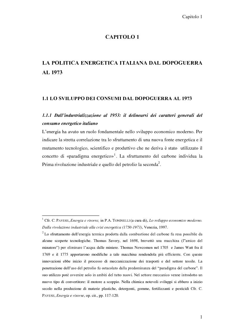 Anteprima della tesi: L'elaborazione delle politiche energetiche in Italia dal dopoguerra alla fine degli anni Ottanta, Pagina 1