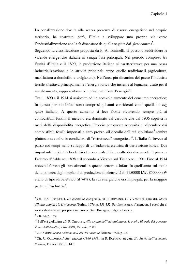 Anteprima della tesi: L'elaborazione delle politiche energetiche in Italia dal dopoguerra alla fine degli anni Ottanta, Pagina 2