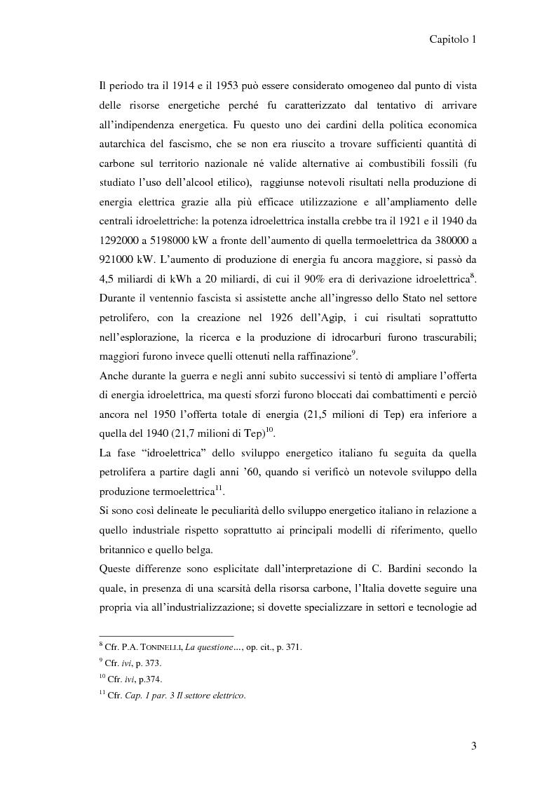 Anteprima della tesi: L'elaborazione delle politiche energetiche in Italia dal dopoguerra alla fine degli anni Ottanta, Pagina 3