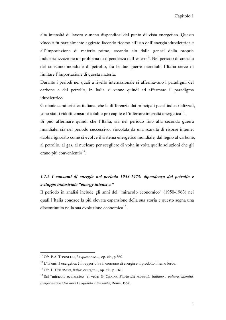 Anteprima della tesi: L'elaborazione delle politiche energetiche in Italia dal dopoguerra alla fine degli anni Ottanta, Pagina 4