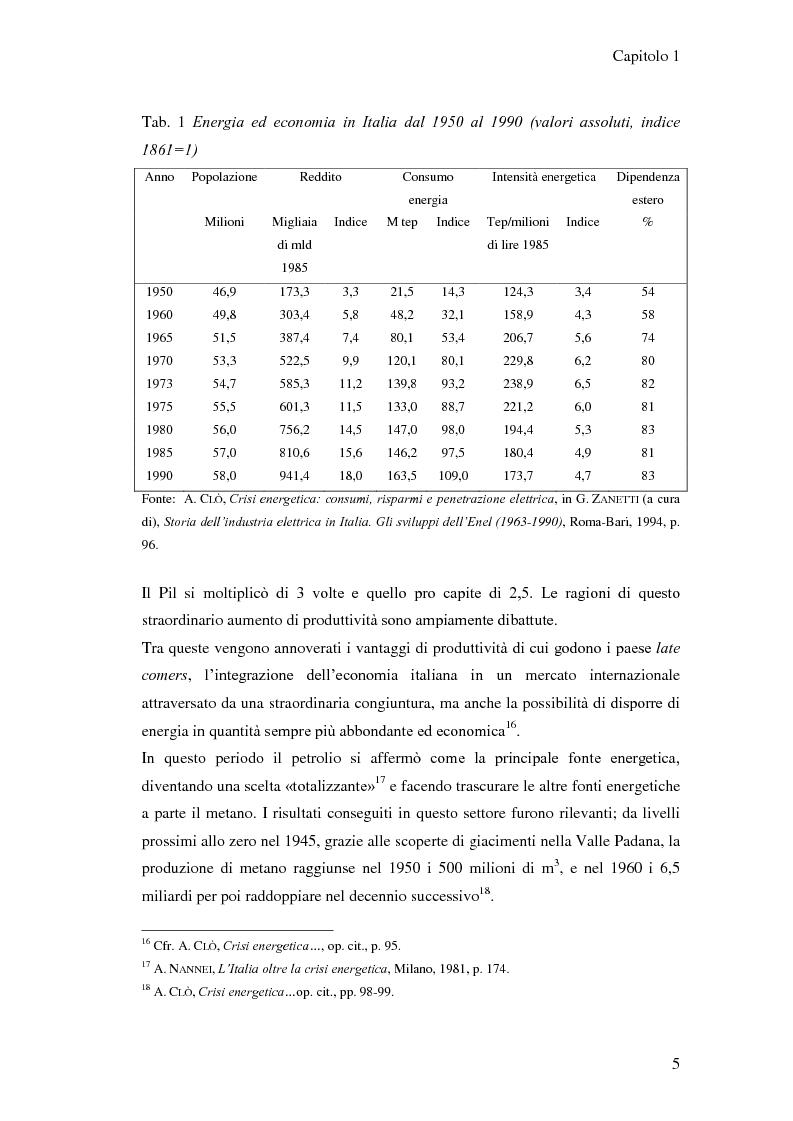 Anteprima della tesi: L'elaborazione delle politiche energetiche in Italia dal dopoguerra alla fine degli anni Ottanta, Pagina 5