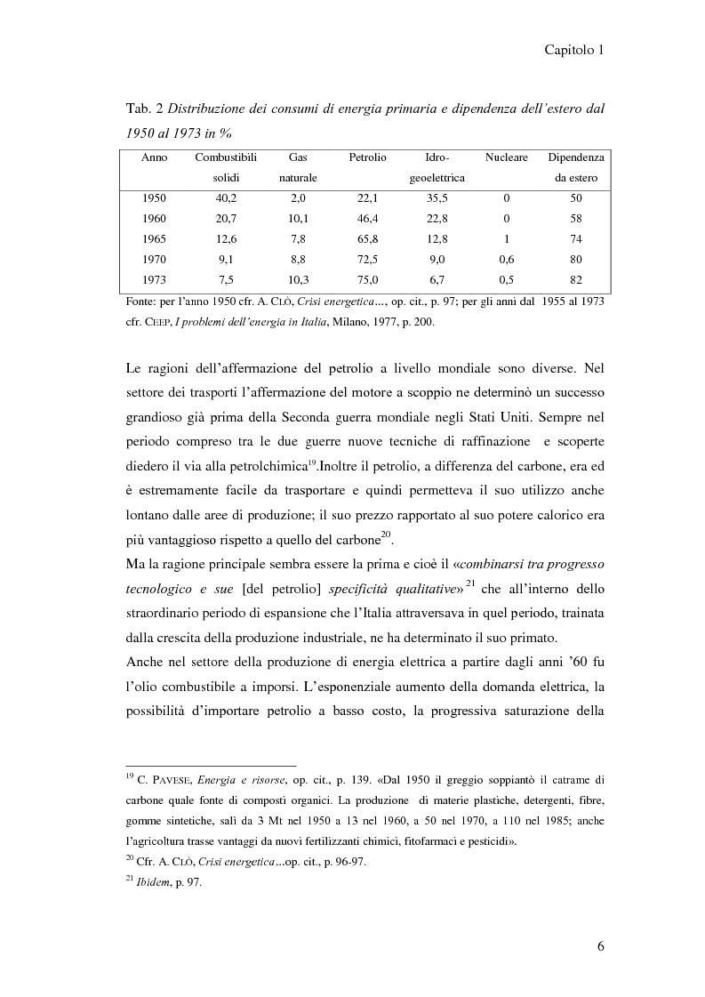 Anteprima della tesi: L'elaborazione delle politiche energetiche in Italia dal dopoguerra alla fine degli anni Ottanta, Pagina 6