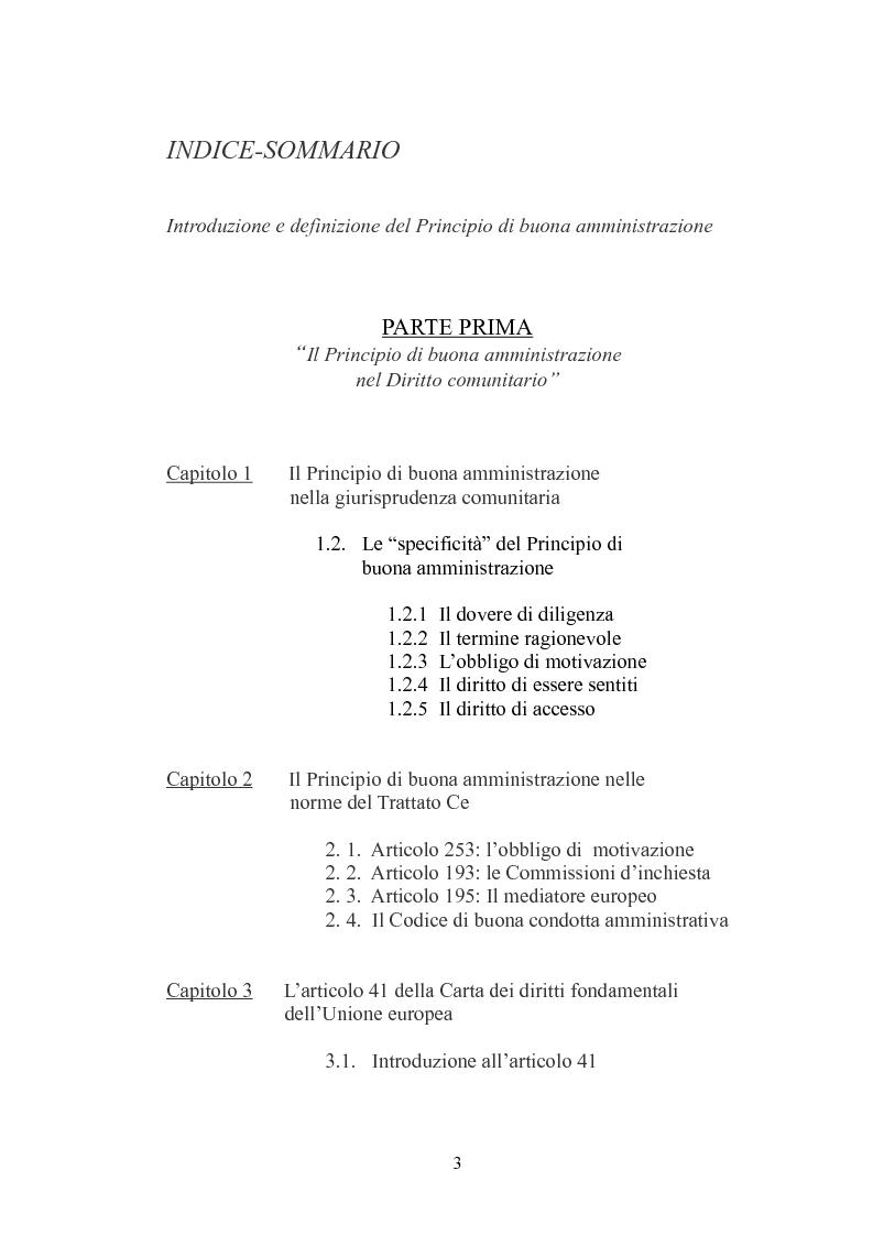 Indice della tesi: Il principio di buona amministrazione, Pagina 1