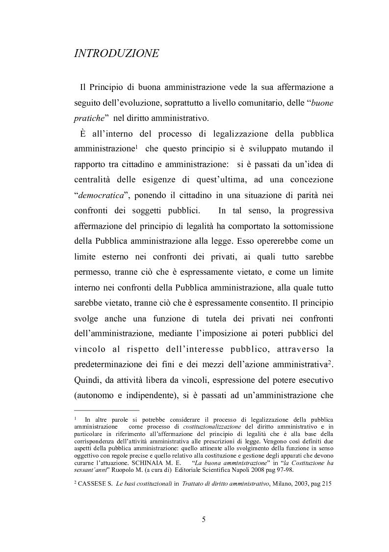 Anteprima della tesi: Il principio di buona amministrazione, Pagina 1