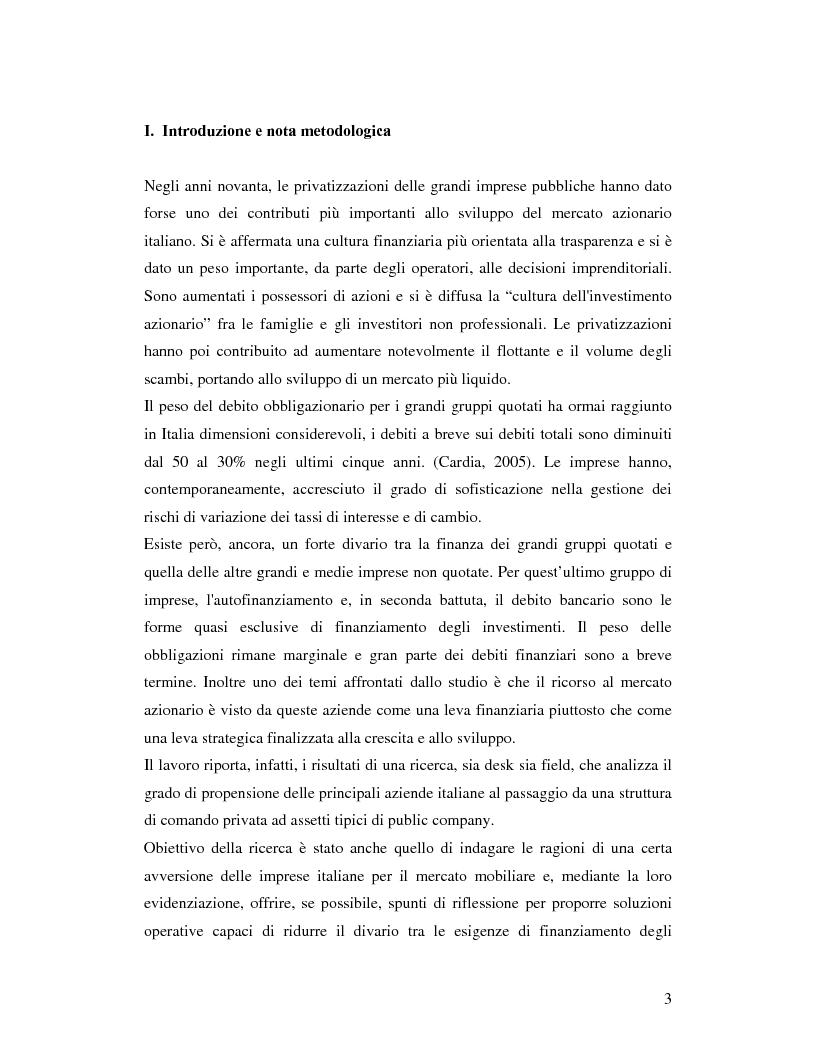 Anteprima della tesi: Le aziende italiane e la bassa propensione all'ingresso nel mercato azionario: un'indagine sulle motivazioni, Pagina 1
