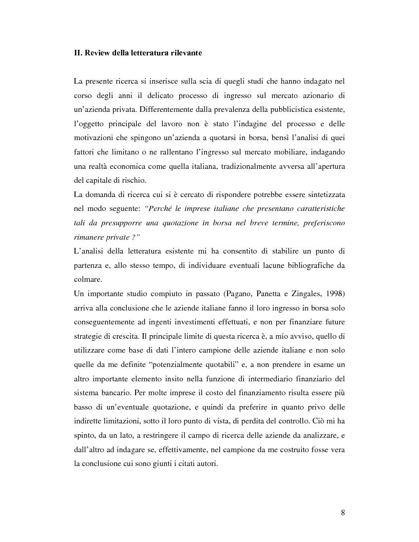 Anteprima della tesi: Le aziende italiane e la bassa propensione all'ingresso nel mercato azionario: un'indagine sulle motivazioni, Pagina 6