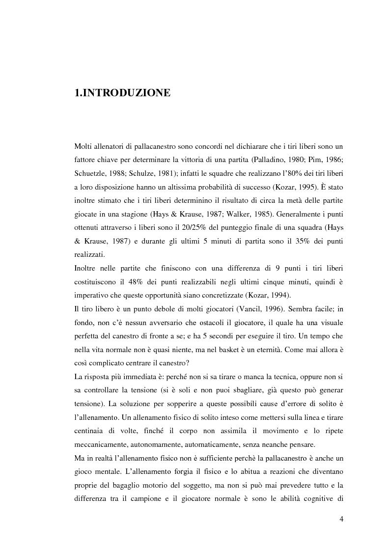Anteprima della tesi: La prestazione nel tiro libero della pallacanestro nella condizione immaginativa, imitativa e simulativa, Pagina 1