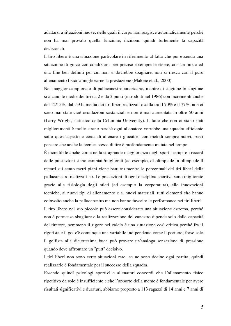 Anteprima della tesi: La prestazione nel tiro libero della pallacanestro nella condizione immaginativa, imitativa e simulativa, Pagina 2