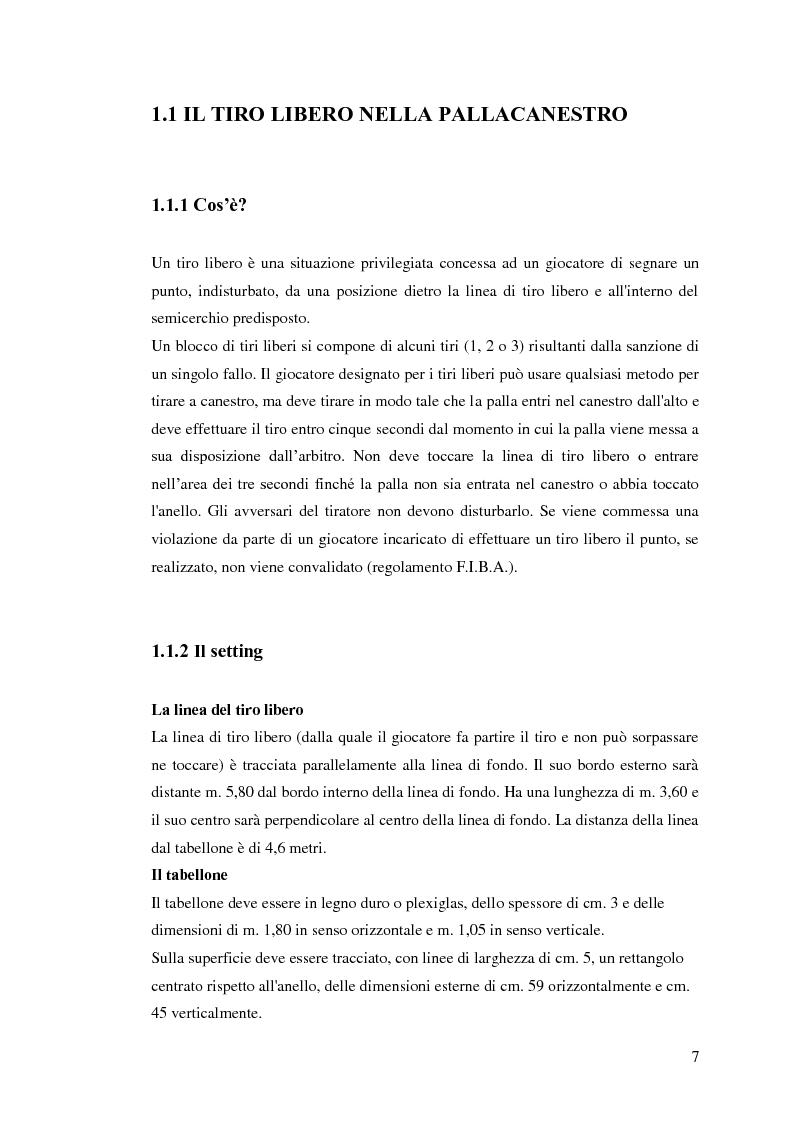 Anteprima della tesi: La prestazione nel tiro libero della pallacanestro nella condizione immaginativa, imitativa e simulativa, Pagina 4