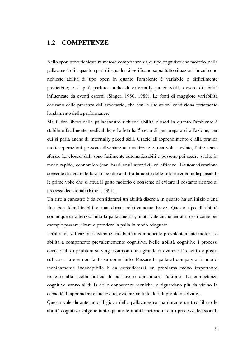 Anteprima della tesi: La prestazione nel tiro libero della pallacanestro nella condizione immaginativa, imitativa e simulativa, Pagina 6