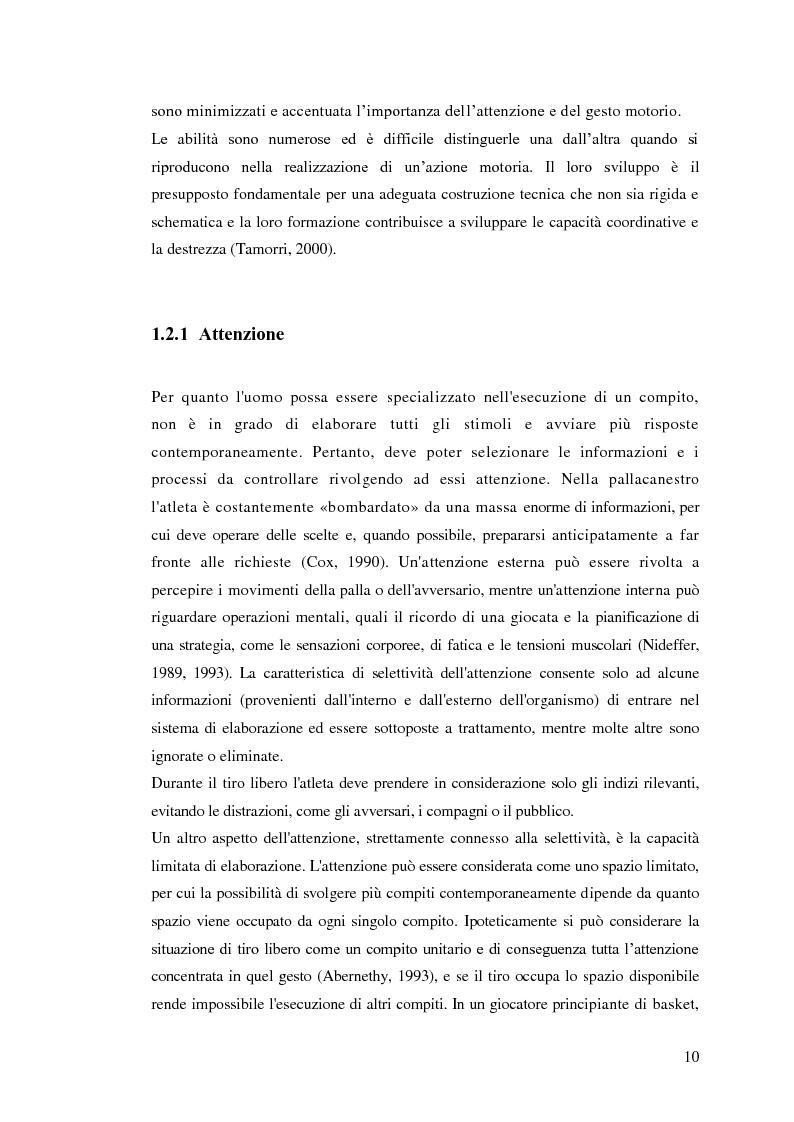 Anteprima della tesi: La prestazione nel tiro libero della pallacanestro nella condizione immaginativa, imitativa e simulativa, Pagina 7