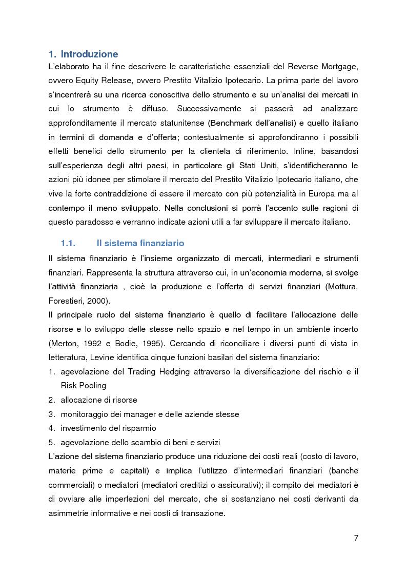 Anteprima della tesi: Un caso di innovazione finanziaria: Reverse Mortgage, Pagina 1