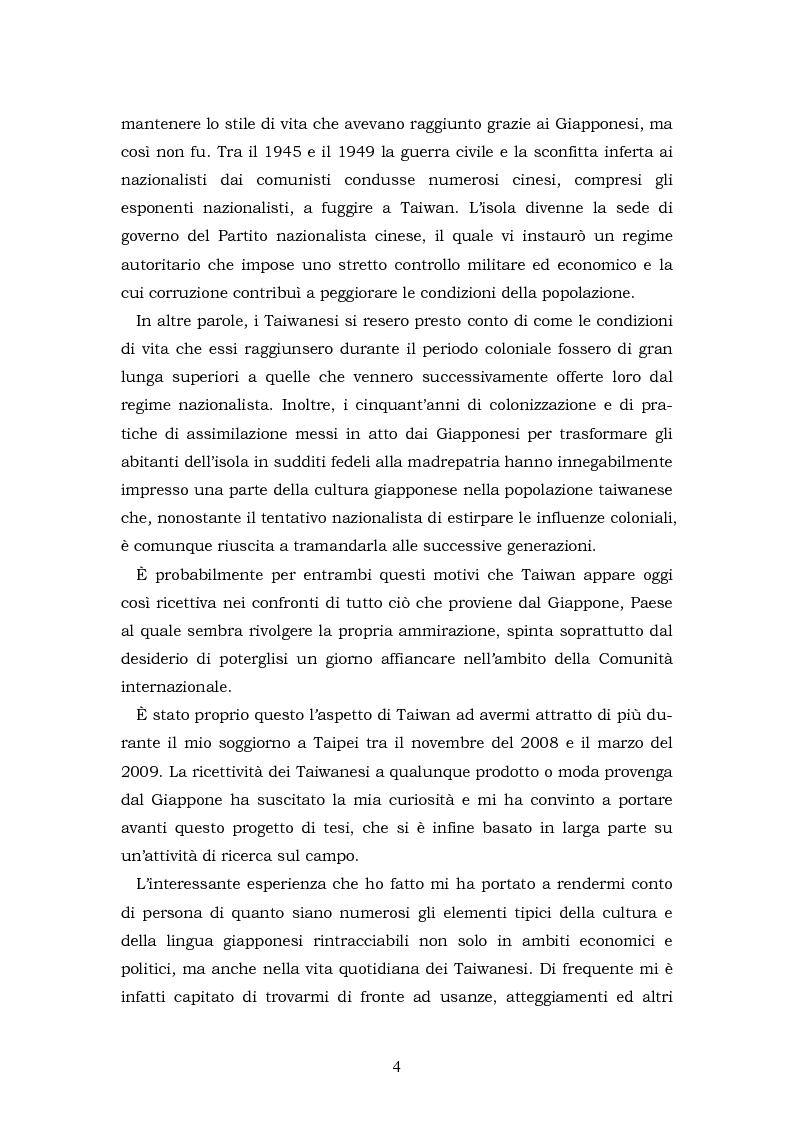 Anteprima della tesi: Il Giappone a Taiwan: un'analisi delle influenze giapponesi sulla lingua e la cultura di Taiwan, Pagina 4