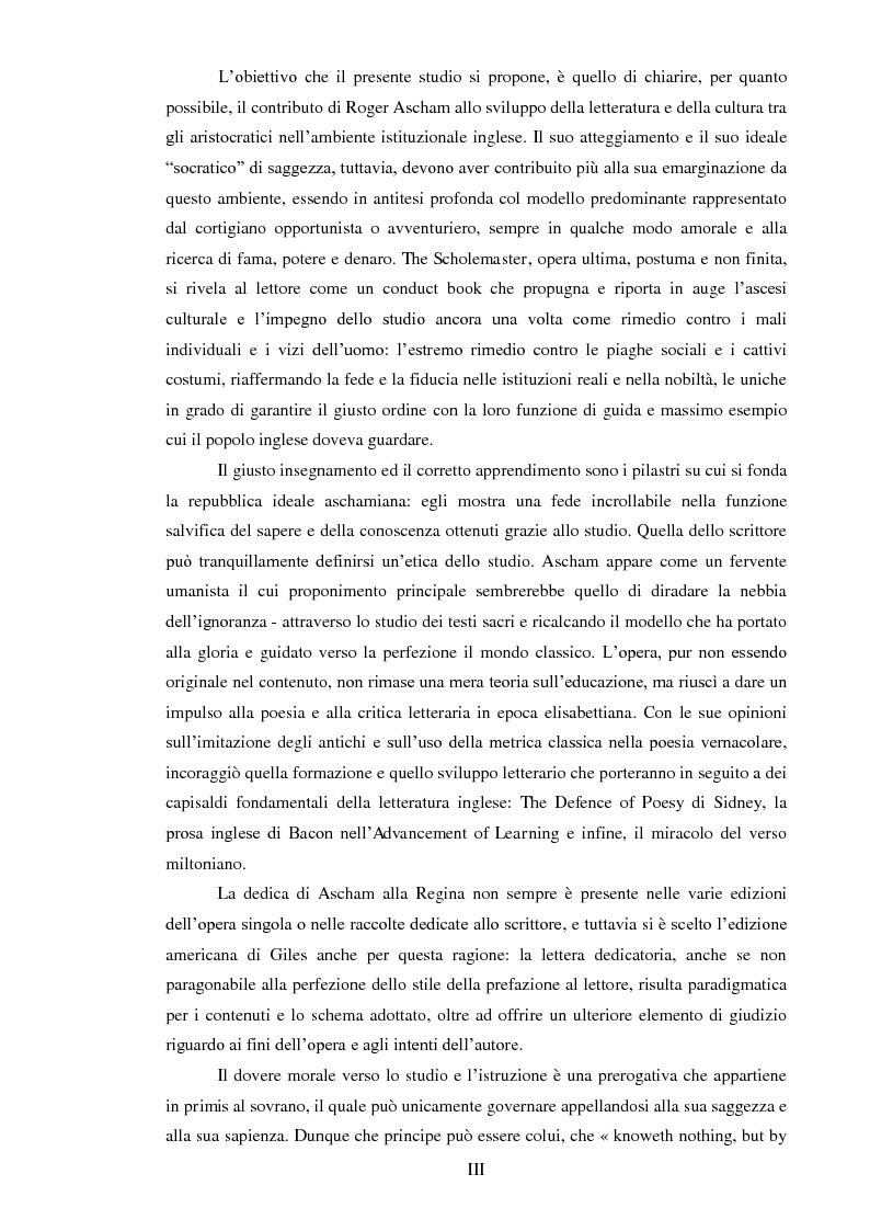 Anteprima della tesi: ''THE SCHOLEMASTER'': Traduzione e cura del trattato sull'educazione dei giovani e sull'insegnamento del latino dell'umanista inglese Roger Ascham, Pagina 3
