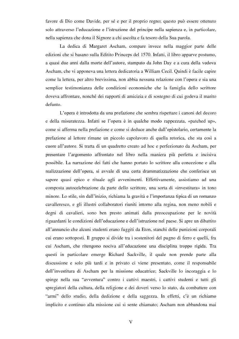 Anteprima della tesi: ''THE SCHOLEMASTER'': Traduzione e cura del trattato sull'educazione dei giovani e sull'insegnamento del latino dell'umanista inglese Roger Ascham, Pagina 5