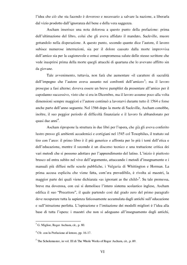 Anteprima della tesi: ''THE SCHOLEMASTER'': Traduzione e cura del trattato sull'educazione dei giovani e sull'insegnamento del latino dell'umanista inglese Roger Ascham, Pagina 6