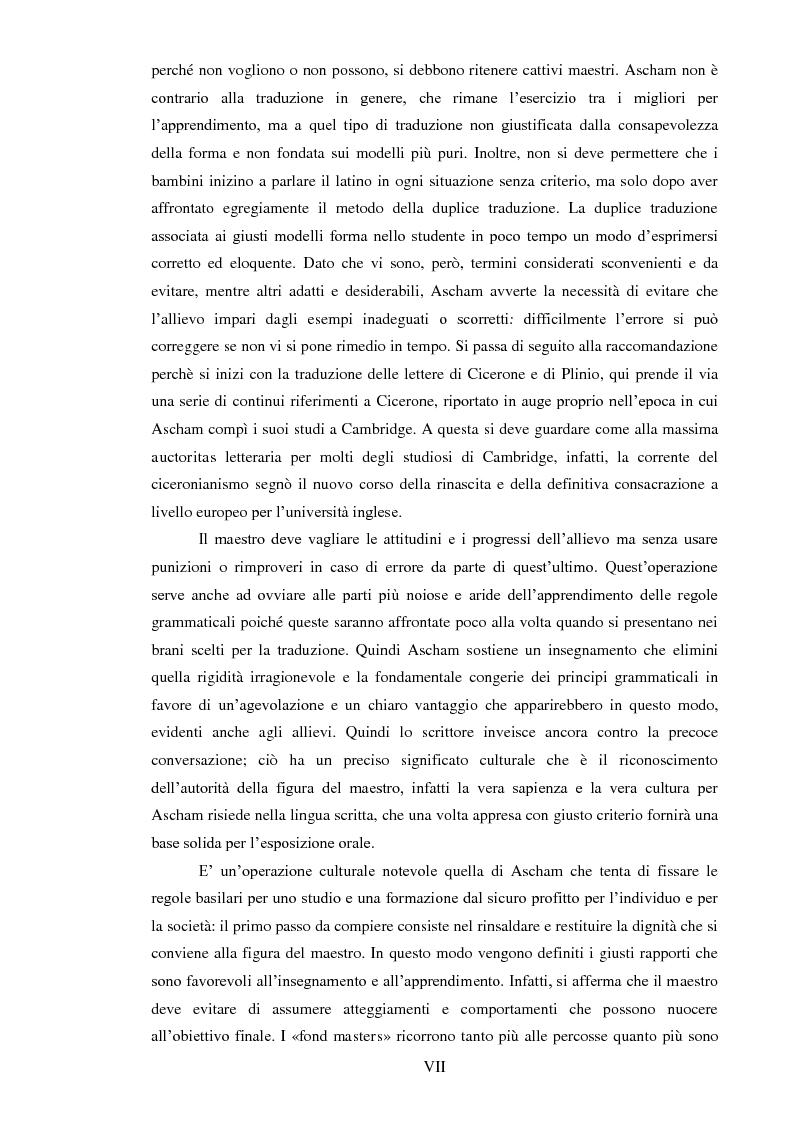 Anteprima della tesi: ''THE SCHOLEMASTER'': Traduzione e cura del trattato sull'educazione dei giovani e sull'insegnamento del latino dell'umanista inglese Roger Ascham, Pagina 7