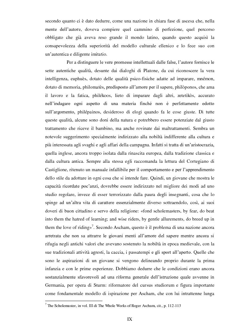 Anteprima della tesi: ''THE SCHOLEMASTER'': Traduzione e cura del trattato sull'educazione dei giovani e sull'insegnamento del latino dell'umanista inglese Roger Ascham, Pagina 9