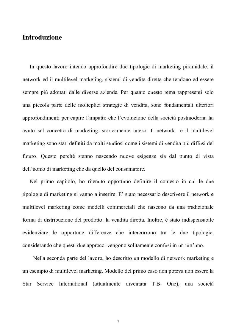 Anteprima della tesi: Network e multilevel marketing - Un gioco dove tutti vincono, Pagina 1