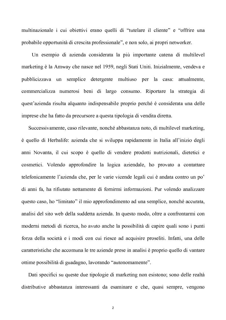 Anteprima della tesi: Network e multilevel marketing - Un gioco dove tutti vincono, Pagina 2