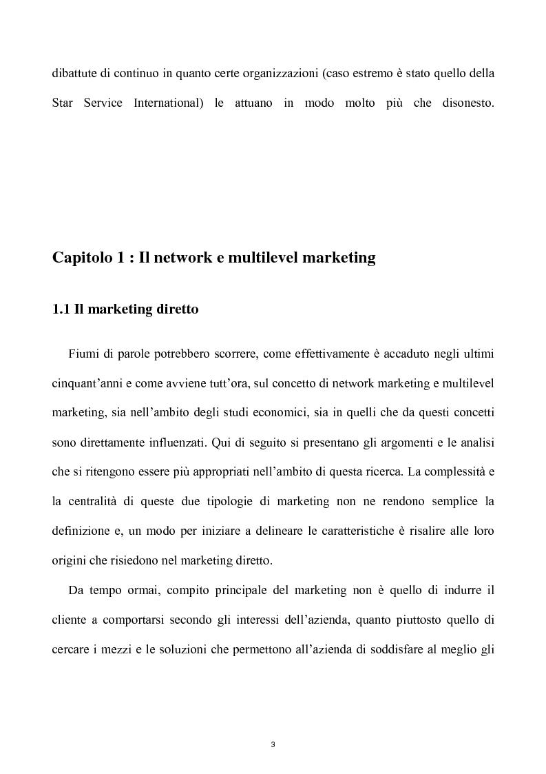 Anteprima della tesi: Network e multilevel marketing - Un gioco dove tutti vincono, Pagina 3