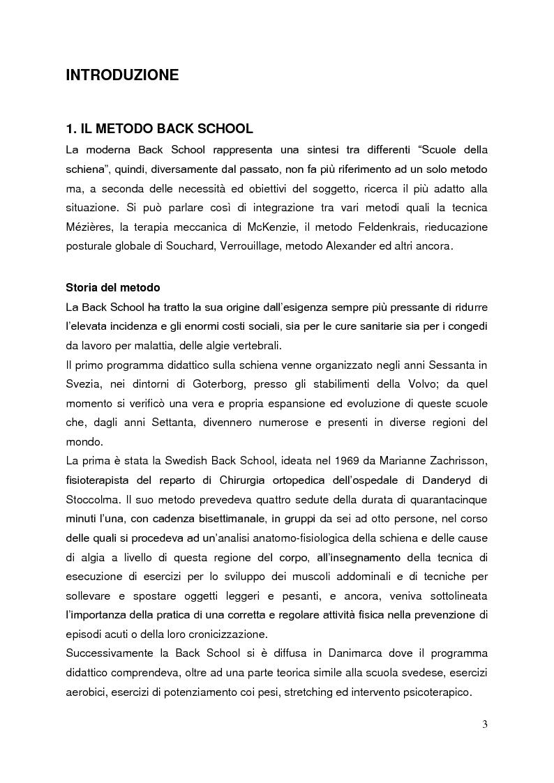 Anteprima della tesi: Back School e McKenzie: due metodi a confronto nel trattamento riabilitativo della lombalgia, Pagina 1
