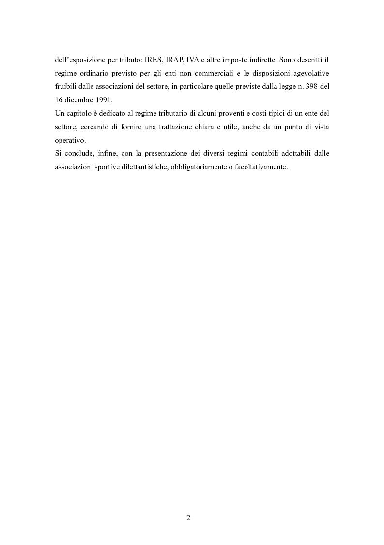 Anteprima della tesi: Associazioni sportive dilettantistiche: aspetti tributari e civilistici, Pagina 2