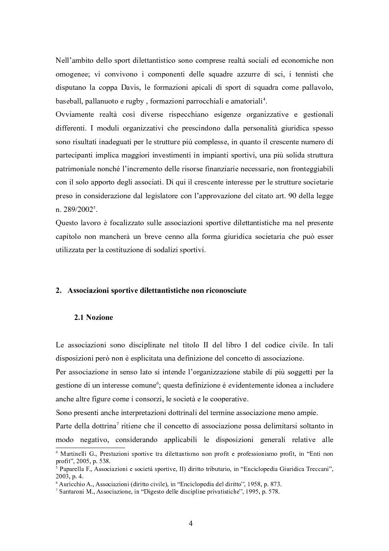 Anteprima della tesi: Associazioni sportive dilettantistiche: aspetti tributari e civilistici, Pagina 4