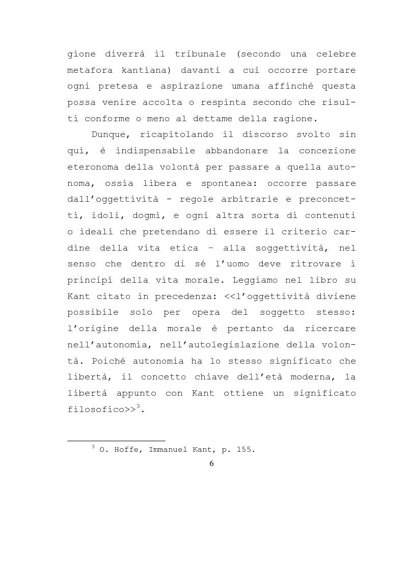 Anteprima della tesi: Libertà e ragione nell'ambito dell'azione morale. Analisi dell'etica di Kant., Pagina 4