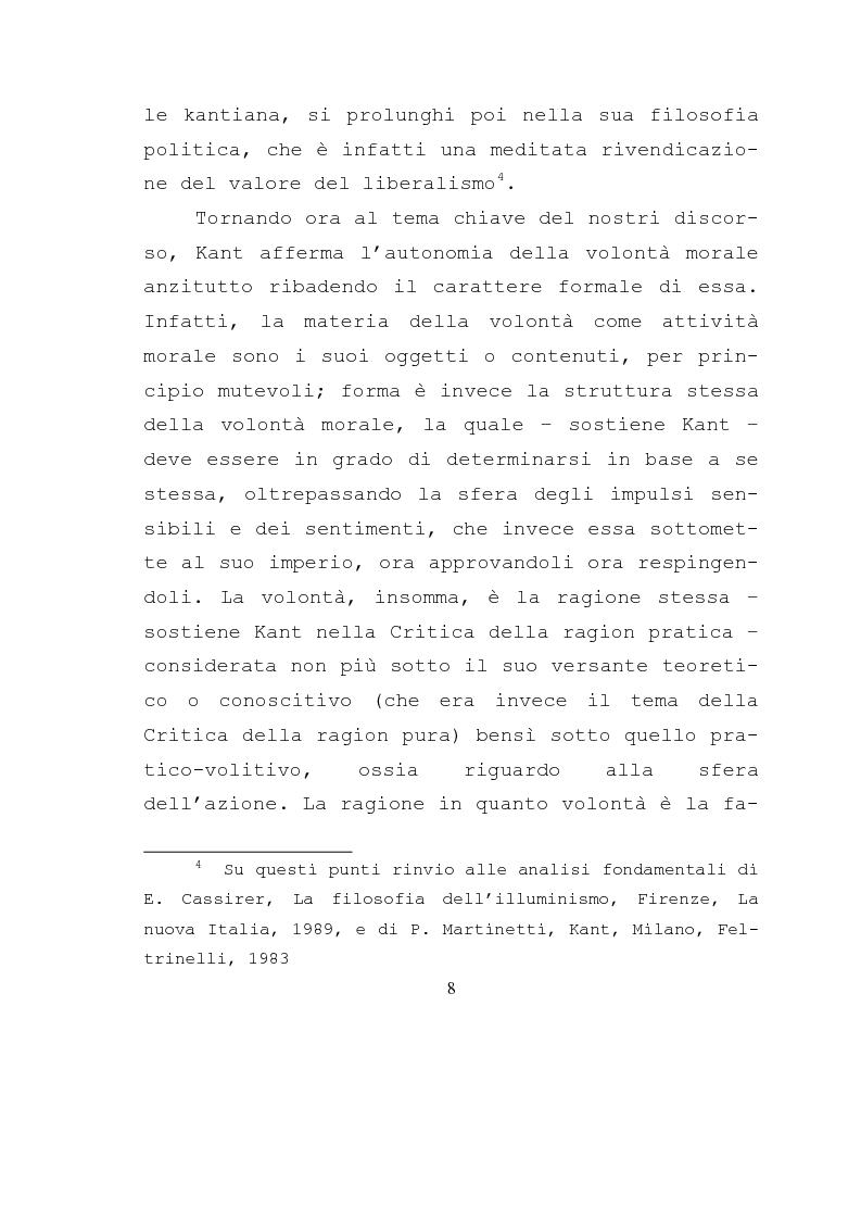 Anteprima della tesi: Libertà e ragione nell'ambito dell'azione morale. Analisi dell'etica di Kant., Pagina 6