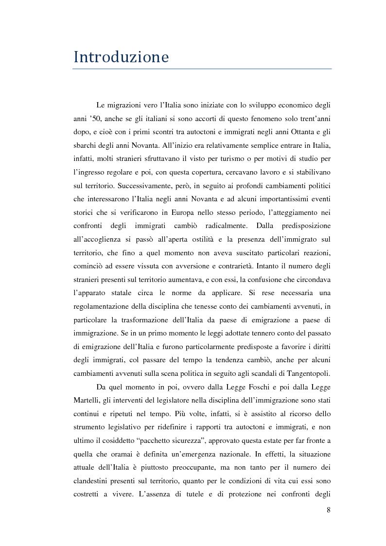 Anteprima della tesi: Immigrazione e democrazia: l'esperienza italiana in una cornice internazionale, Pagina 1