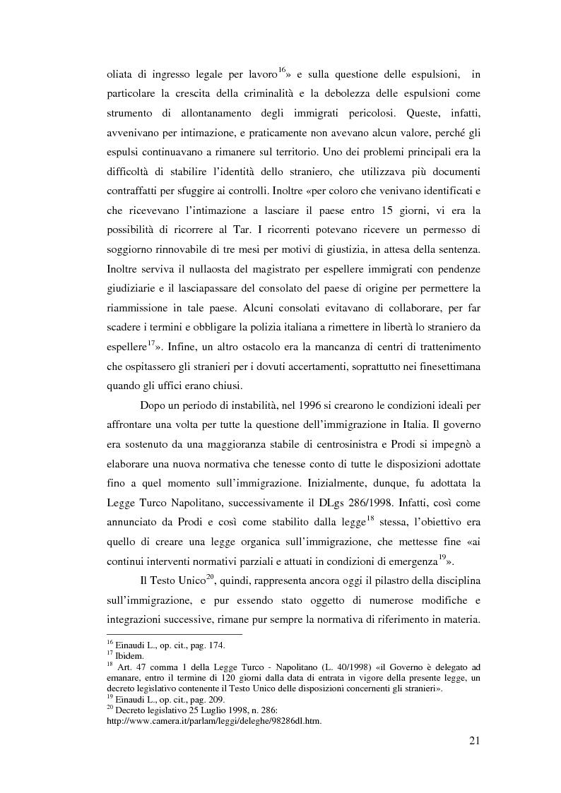 Anteprima della tesi: Immigrazione e democrazia: l'esperienza italiana in una cornice internazionale, Pagina 14