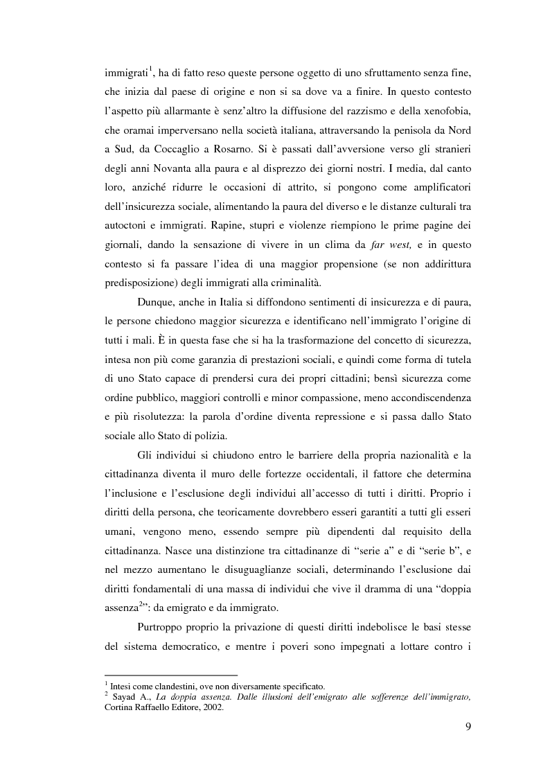 Anteprima della tesi: Immigrazione e democrazia: l'esperienza italiana in una cornice internazionale, Pagina 2
