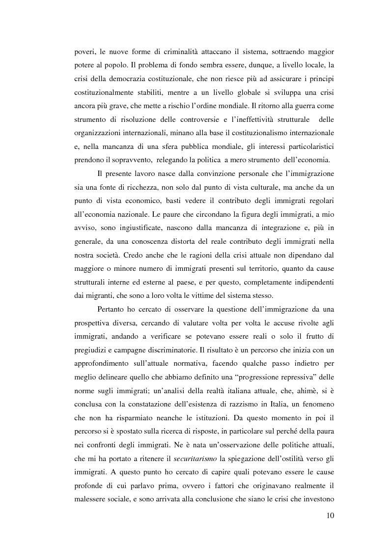 Anteprima della tesi: Immigrazione e democrazia: l'esperienza italiana in una cornice internazionale, Pagina 3