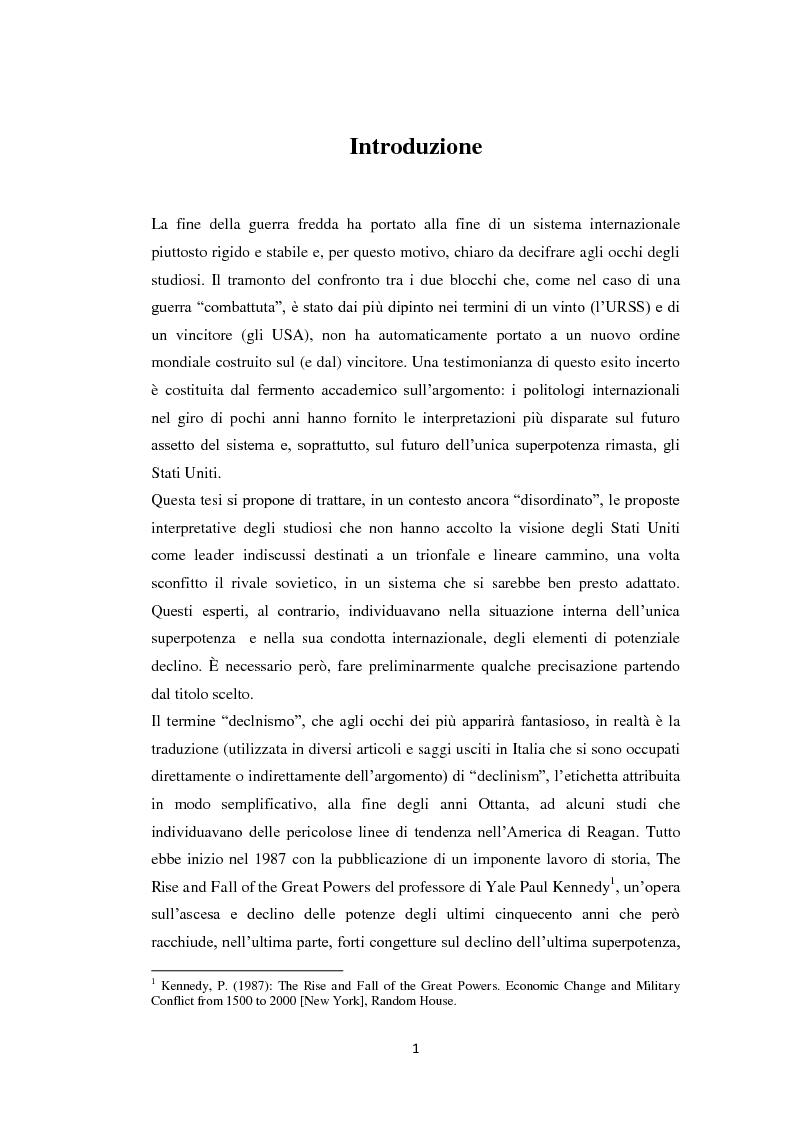 Anteprima della tesi: Declinismo. Il dibattito sul declino degli Stati Uniti tra la fine della guerra fredda e l'inizio dell'era post-bipolare., Pagina 1