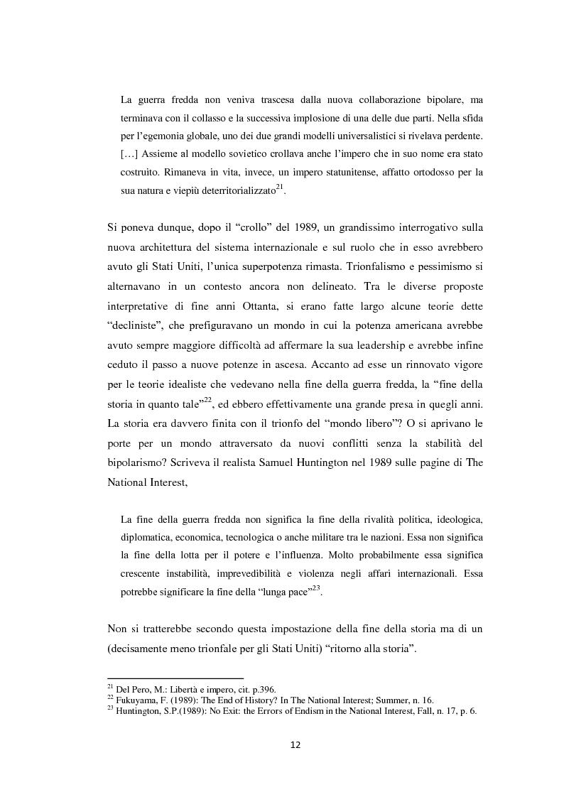 Anteprima della tesi: Declinismo. Il dibattito sul declino degli Stati Uniti tra la fine della guerra fredda e l'inizio dell'era post-bipolare., Pagina 12