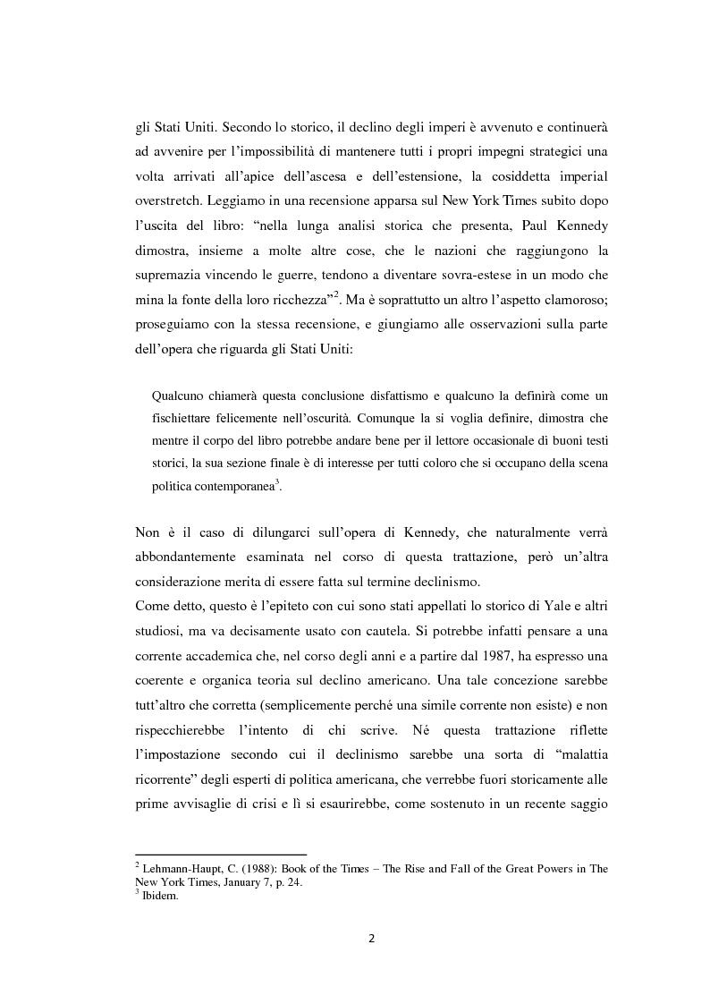 Anteprima della tesi: Declinismo. Il dibattito sul declino degli Stati Uniti tra la fine della guerra fredda e l'inizio dell'era post-bipolare., Pagina 2