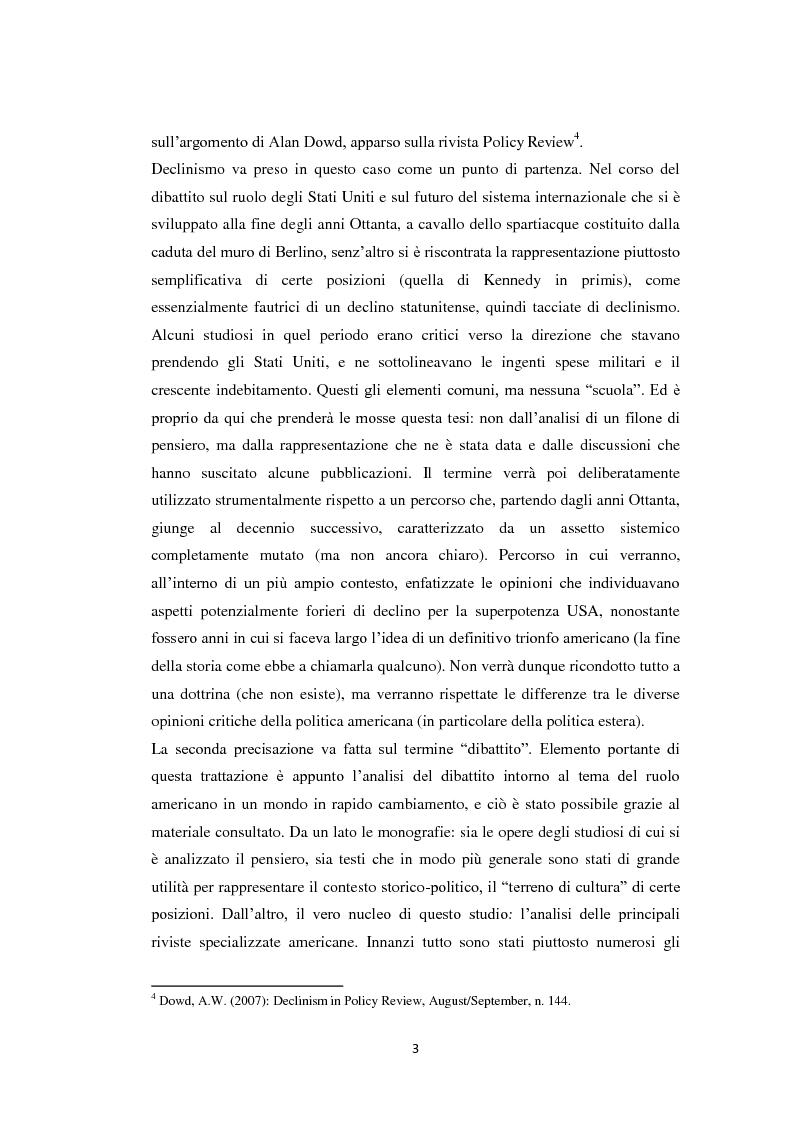 Anteprima della tesi: Declinismo. Il dibattito sul declino degli Stati Uniti tra la fine della guerra fredda e l'inizio dell'era post-bipolare., Pagina 3