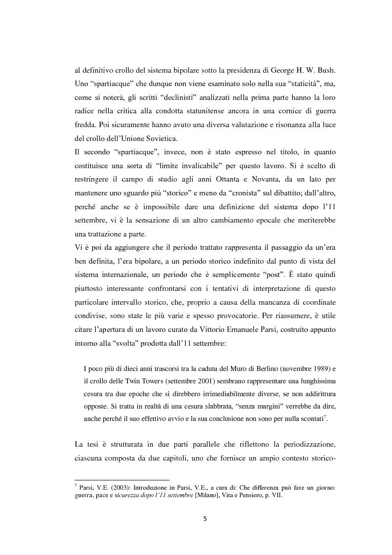 Anteprima della tesi: Declinismo. Il dibattito sul declino degli Stati Uniti tra la fine della guerra fredda e l'inizio dell'era post-bipolare., Pagina 5