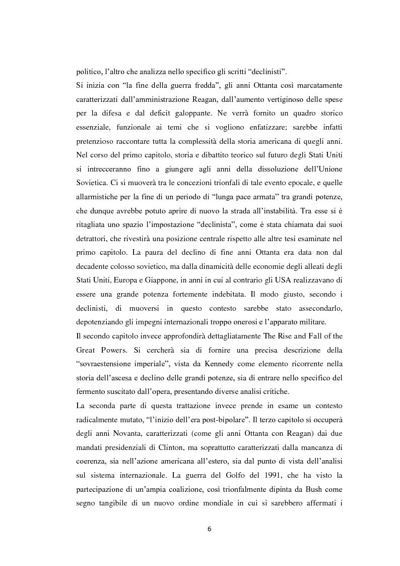 Anteprima della tesi: Declinismo. Il dibattito sul declino degli Stati Uniti tra la fine della guerra fredda e l'inizio dell'era post-bipolare., Pagina 6