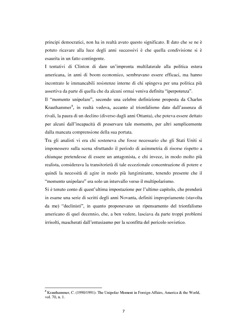 Anteprima della tesi: Declinismo. Il dibattito sul declino degli Stati Uniti tra la fine della guerra fredda e l'inizio dell'era post-bipolare., Pagina 7