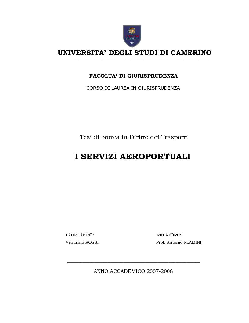 Anteprima della tesi: I Servizi aeroportuali, Pagina 1