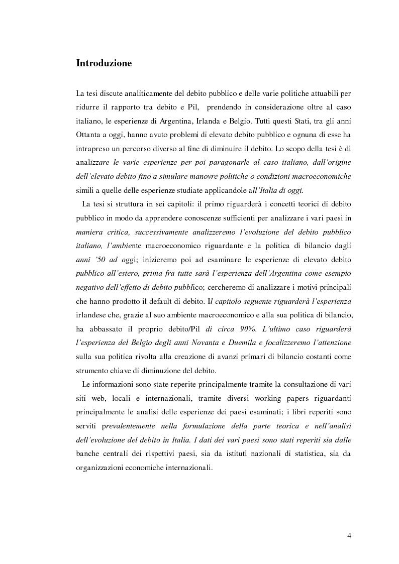 Anteprima della tesi: Il debito pubblico: paragone tra il caso italiano e le esperienze di Argentina, Irlanda e Belgio, Pagina 2