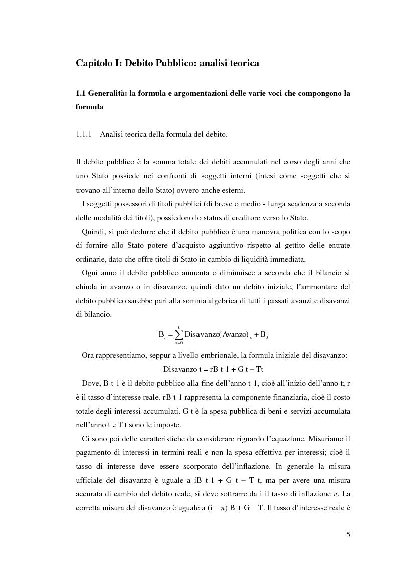 Anteprima della tesi: Il debito pubblico: paragone tra il caso italiano e le esperienze di Argentina, Irlanda e Belgio, Pagina 3