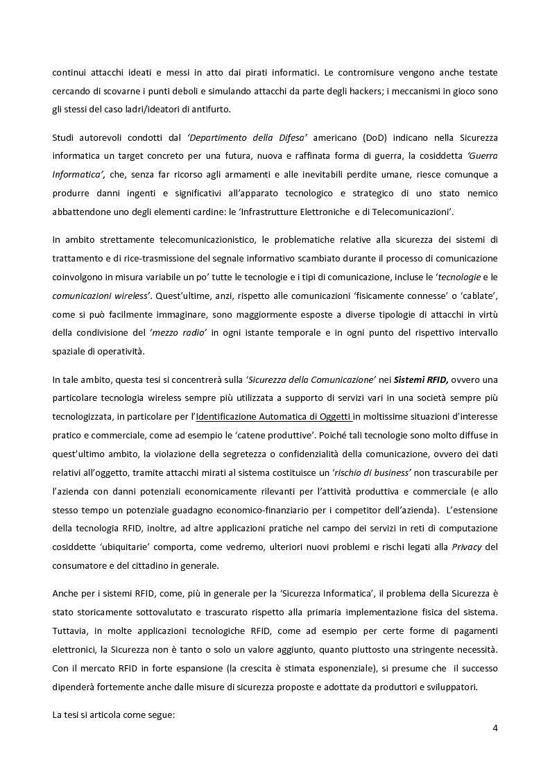 Anteprima della tesi: Meccanismi di sicurezza e privacy per sistemi RFID, Pagina 2