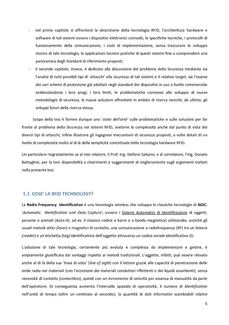 Anteprima della tesi: Meccanismi di sicurezza e privacy per sistemi RFID, Pagina 3