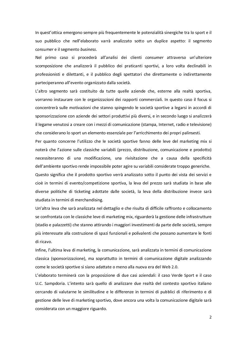 Anteprima della tesi: Il marketing delle società sportive: i casi Verde Sport e U.C. Sampdoria, Pagina 2
