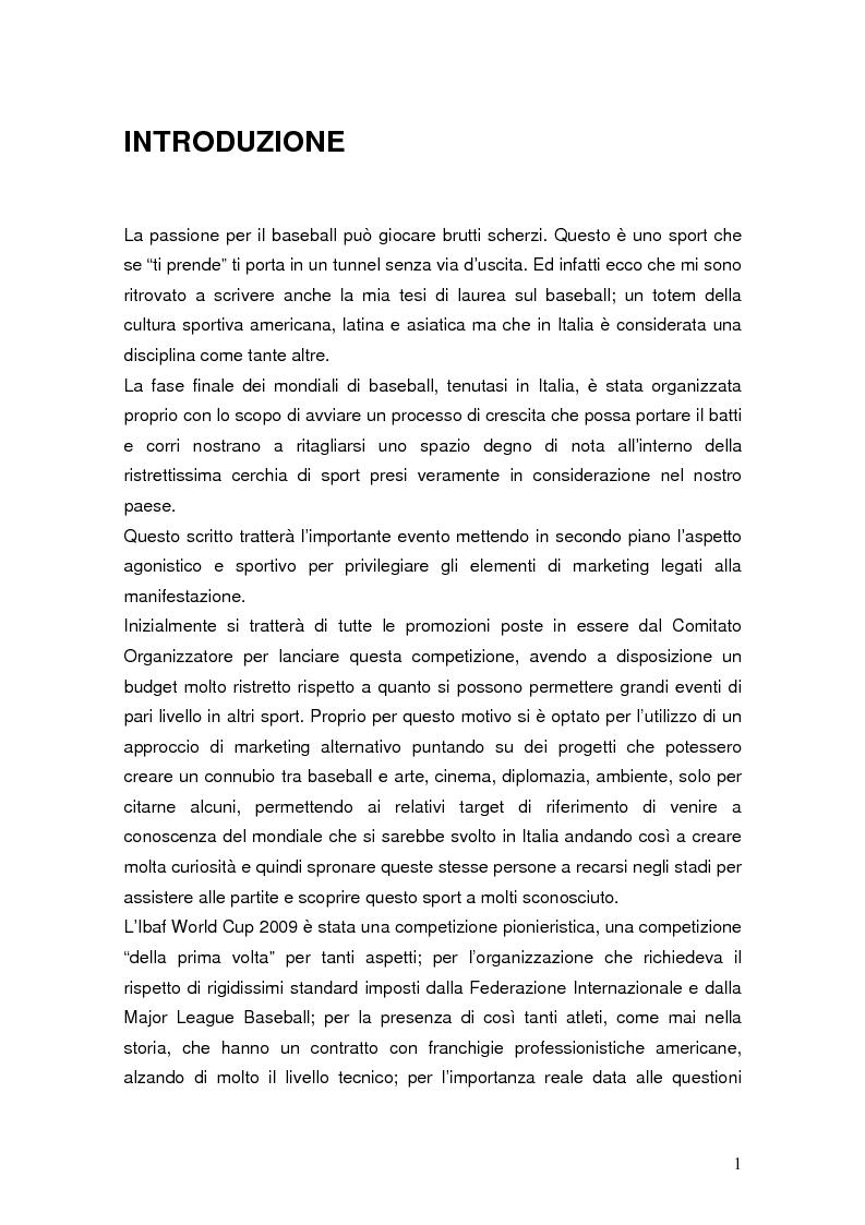 Anteprima della tesi: Il mondiale di baseball in Italia: l'evento come traino di una pratica sportiva emergente, Pagina 1